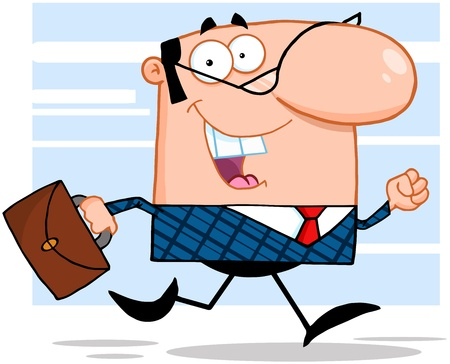 Lucky Business Man Running To Work With Briefcase
