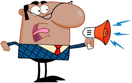 reprimand: Excited African American Business Manager Speaking Through A Megaphone