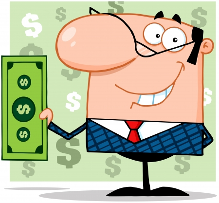 Smiling Business Man Holding A Dollar Bill Ilustrace