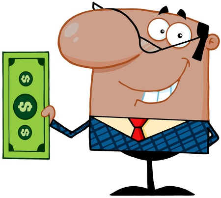 Smiling African American Business Manager Holding A Dollar Bill Stock Vector - 18397038
