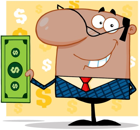 Smiling African American Business Man Holding A Dollar Bill Stock Vector - 18397039