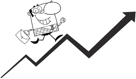 Outlined Business Manager Running Upwards On A Statistics Arrow Illustration