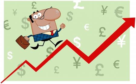 Smiling African American Business Man Running Upwards On A Statistics Arrow