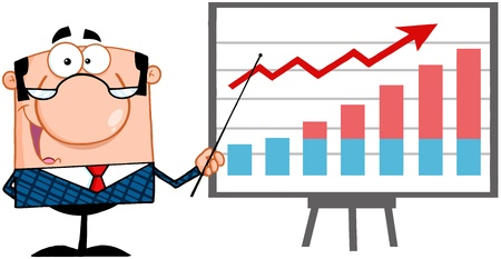 progressive: Happy Business Manager With Pointer Presenting A Progressive Chart Illustration