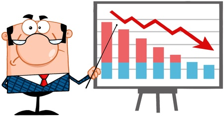 decline: Angry Business Manager With Pointer Presenting A Falling Chart