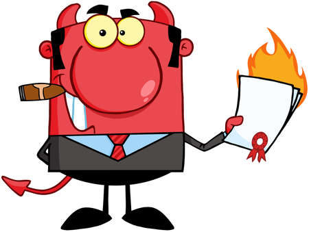 conman: Devil Boss Holding A Flaming Bad Contract In His Hand Illustration