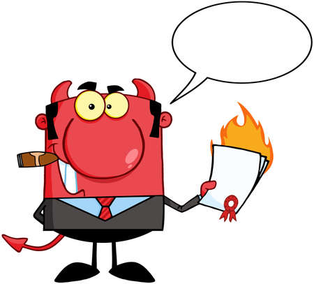 conman: Devil Boss Holding A Flaming Bad Contract In His Hand And Speech Bubble Illustration