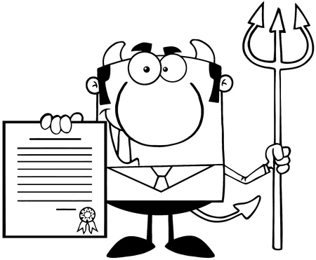 Outlined Smiling Devil Boss With A Trident Holds Up A Contract