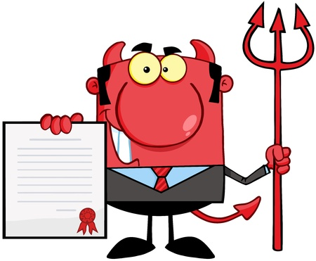conman: Smiling Devil Boss With A Trident Holds Up A Contract Illustration