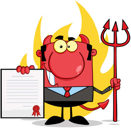 Smiling Devil Boss With A Trident Holds Up A Contract  In Front Of Flames Vector