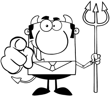 Outlined Smiling Devil Boss With A Trident And Hand Pointing Finger Stock Vector - 18522446