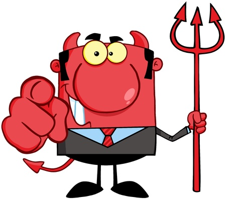 Smiling Devil Boss With A Trident And Hand Pointing Finger Stock Vector - 18522455