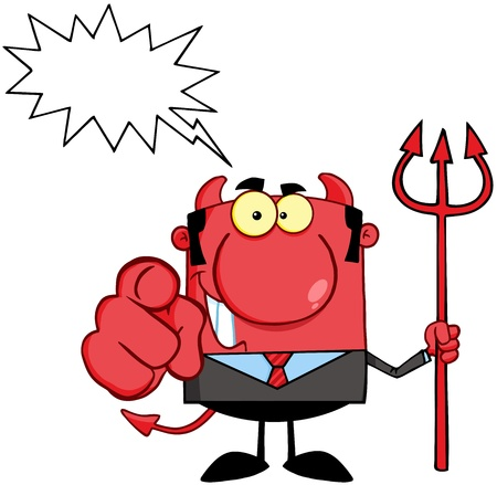 Devil Boss With A Trident And Hand Pointing Finger With Speech Bubble Ilustração