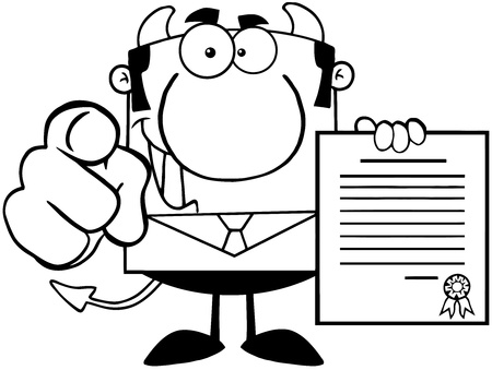 Outlined Smiling Devil Boss Holds Up A Contract And Hand Pointing Finger Stock Vector - 18522449