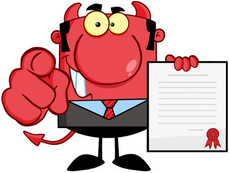 Smiling Devil Boss Holds Up A Contract And Hand Pointing Finger Stock Vector - 18522456