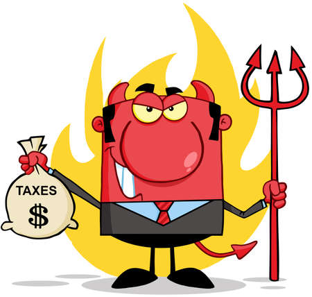 Smiling Devil With A Trident And Holding Taxes Bag Vector