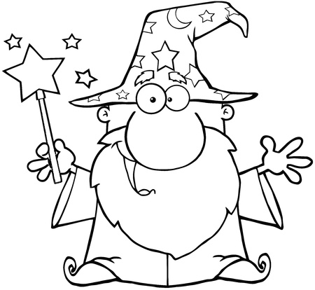 bewitch: Outlined Funny Wizard Waving With Magic Wand Illustration