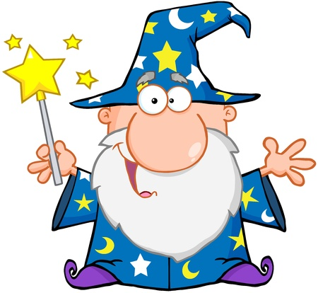 sorcerer: Funny Wizard Waving With Magic Wand Illustration