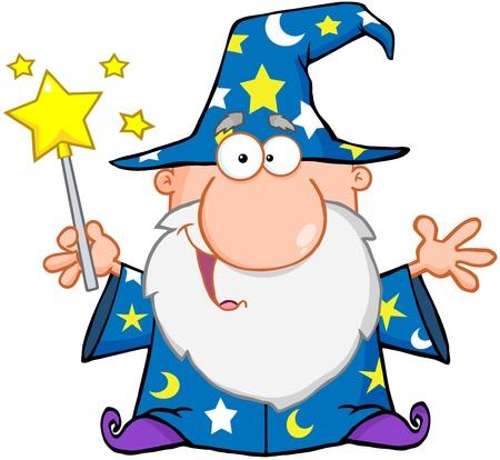 Grappig Wizard Zwaaien Met Toverstaf Vector Illustratie