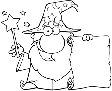 wizardry: Outlined Funny Wizard Waving With Magic Wand And Holding Up A Scroll
