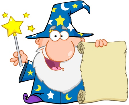 sorcerer: Funny Wizard Waving With Magic Wand And Holding Up A Scroll