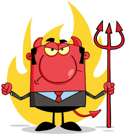 devil man: Angry Devil With A Trident  In Front Of Flames Illustration