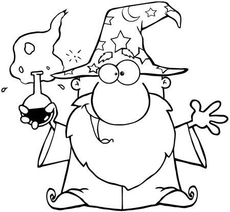 Outlined Crazy Wizard Holding A Green Magic Potion Vector