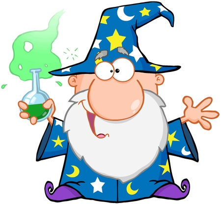 Crazy Wizard Holding A Green Magic Potion Çizim