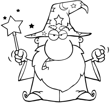 Outlined Angry Wizard Waving With Magic Wand Vector