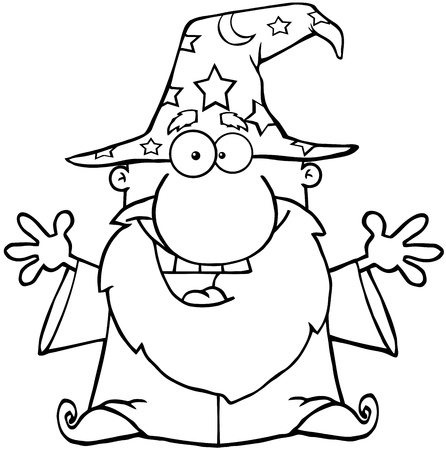 Outlined Friendly Wizard With Open Arms Vector