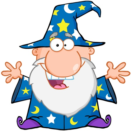 Happy Wizard With Open Arms Ilustracja