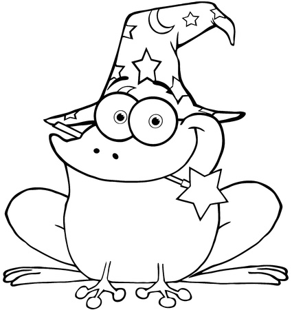 Outlined Wizard Frog With A Magic Wand In Mouth