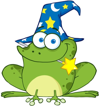 Wizard Frog With A Magic Wand In Mouth Vector