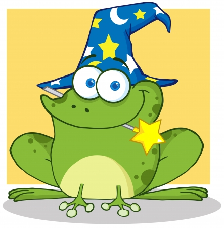 croaking: Cute Wizard Frog With A Magic Wand In Mouth Illustration