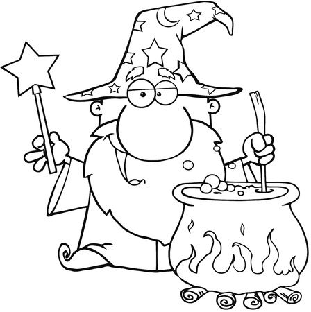 Outlined Wizard Waving With Magic Wand And Preparing A Potion Illustration