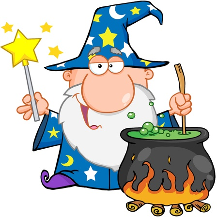 cauldron: Funny Wizard Waving With Magic Wand And Preparing A Potion