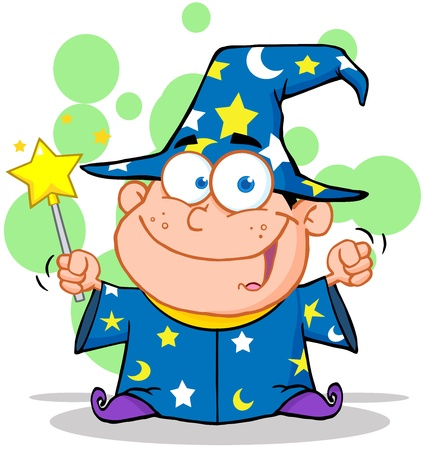 bewitch: Smiling Wizard Boy Waving With Magic Wand Illustration