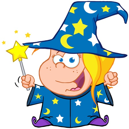 Happy Wizard Girl Waving With Magic Wand Stock Vector - 18588577