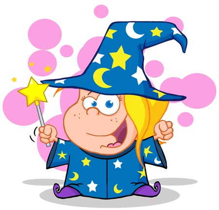 Happy Wizard Blonde Girl Waving With Magic Wand Vector