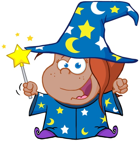 magic trick: Happy African American Wizard Girl Waving With Magic Wand Illustration