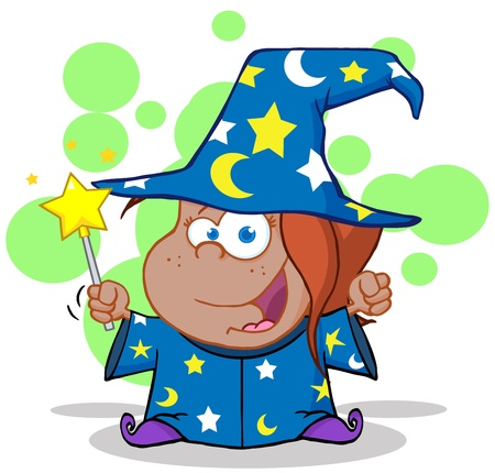 bewitch: Funny African American Wizard Girl Waving With Magic Wand Illustration