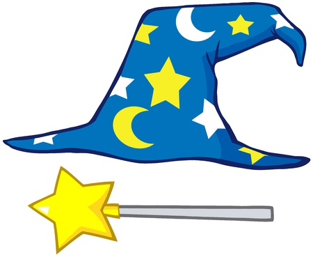 Wizard Hat And Magic Stick Vector