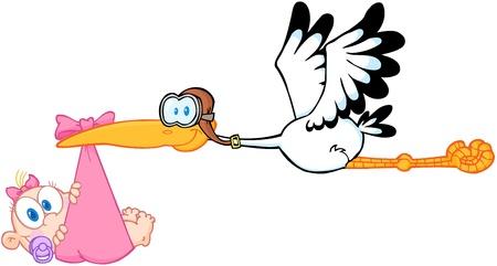 cicogna: Cicogna, offrendo una neonata appena nata Vettoriali