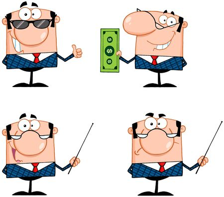 Business Man Cartoon Characters  Collection 2 Vector