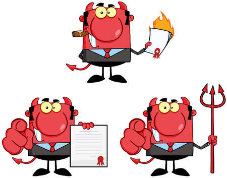 Devil Boss Cartoon Characters  Collection 2 Vector