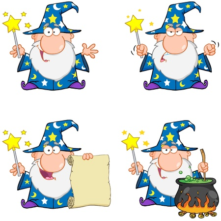 Wizard Cartoon Characters  Collection 1 Vector