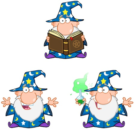 Wizard Cartoon Characters  Collection 2 Vector
