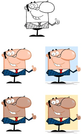 Business Man Cartoon Characters  Collection 3 Vector