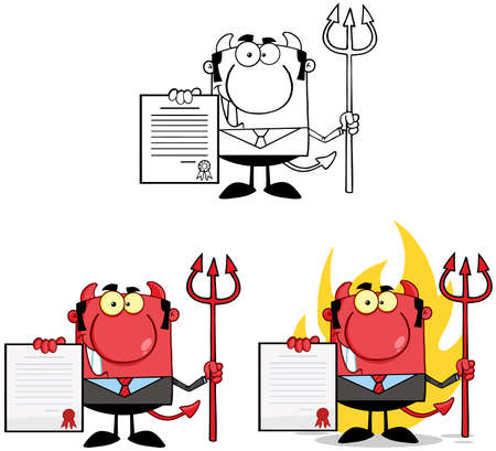 Devil Boss Cartoon Characters  Collection 4 Vector