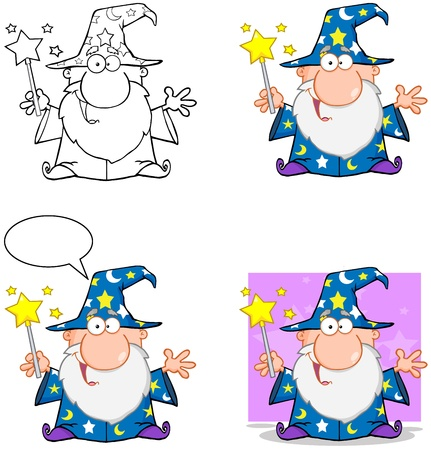 Wizard Cartoon Characters  Collection 3 Vector